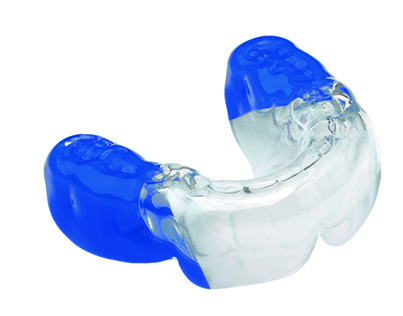 Blue and white Bioplast mouthguard